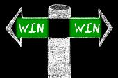 pic of win  - Opposite arrows with Win-Win Solution. Hand drawing with chalk on blackboard. Choice conceptual image - JPG