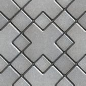 stock photo of paving  - Gray Paving  Slabs as Large Rhombuses with a Cross in the Center - JPG