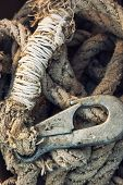 image of hook  - Rope with rusty hook - JPG