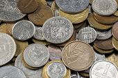 stock photo of copper coins  - old European coins before the introduction of the Euro  - JPG