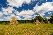 image of haystack  - a landscape with haystack country in Romania - JPG