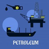 stock photo of rig  - Petroleum industry flat infographics icons with offshore oil rig - JPG