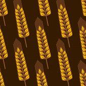 picture of oblique  - Agricultural seamless pattern with oblique ripe golden wheat ears on brown - JPG