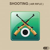 foto of rifle  - Visualization of Rifle Shooting Icon or Air Rifle sport item icon - JPG