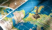 stock photo of atlas  - Paris destination Eiffel Tower icon on geographical map Travel concept - JPG