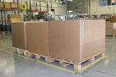 picture of assembly line  - Cardboard boxes are standing in a designated place in the assembly hall - JPG