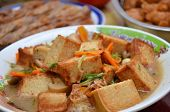 picture of curd  - Chinese gourmet tasty fried bean curd cooks with vegetable  - JPG