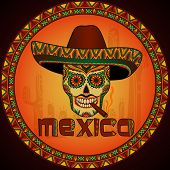 stock photo of sombrero  - Traditional mexican scull with sombrero - JPG