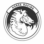 image of horse head  - Logo with vintage horses head for horse racing - JPG