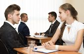 stock photo of interview  - Job interview. Many business people are passing interview at the office ** Note: Shallow depth of field - JPG