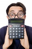 pic of cheater  - Funny man with calculator isolated on white - JPG