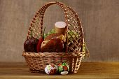 foto of home-made bread  - Meat home made delicious sausages lattuce bread rolls red pepper and easter eggs in basket horizontal picture - JPG