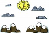 foto of applique  - Applique landscape on a white background vector illustration - JPG