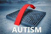 foto of autism  - autism against big maze with arrow under cloudy sky - JPG
