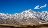 foto of greater  - Greater Caucasus Mountains near Stepantsminda town Georgia - JPG