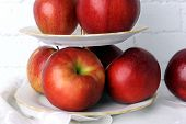 picture of serving tray  - Tasty ripe apples on serving tray close up - JPG