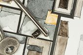 picture of freehand drawing  - Watercolor and ink freehand sketch drawing of apartment flat floor plan partial fragment with metal keys - JPG