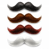 image of moustache  - Old fashion upper lip long wax groomed and trimmed fake moustaches vector illustration - JPG