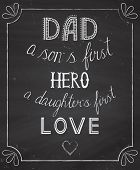 foto of chalkboard  - stylish vector template of fathers - JPG
