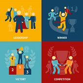 picture of victory  - Competition flat icons set with leadership winner victory isolated vector illustration - JPG