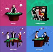 picture of poker machine  - People in casino design concept set with flat poker slot machine roulette blackjack icons isolated vector illustration - JPG