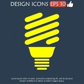 foto of fluorescence  - Vector energy saving fluorescent light bulb icon - JPG