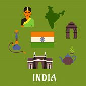 picture of hookah  - India culture and travel concept with colored icons of landmarks - JPG
