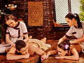 foto of panchakarma  - Couple  having oil spa treatment - JPG