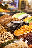 picture of dry fruit  - Nuts and almonds and dried fruits for sale at the market - JPG