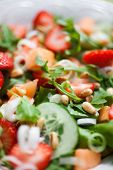 picture of cantaloupe  - Summer salad with strawberries and cantaloupe - JPG