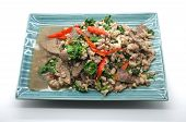 picture of liver fry  - Stir fry basil leaves with pork and liver - JPG
