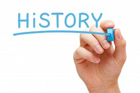 picture of annal  - Hand writing History with blue marker on transparent wipe board - JPG