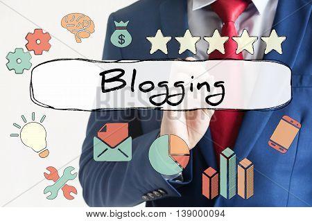 Blogging Drawn On Virtual Board By Businessman