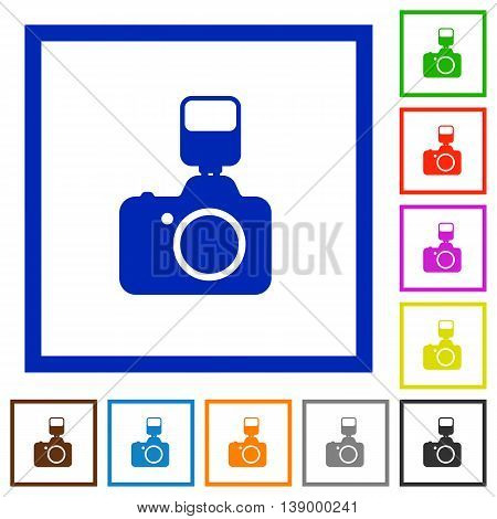 Set of color square framed Camera with flash flat icons