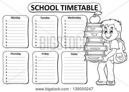 Black and white school timetable theme 2 - eps10 vector illustration.