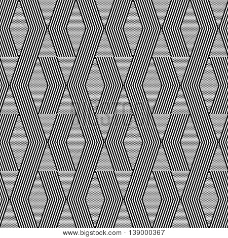 Seamless geometric zig zag and diamond shapes pattern. Vector art.