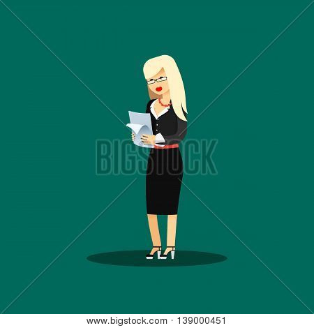 Business woman in black costume vector illustration. Office staff, isolated characters girl happy face, people success, in hands paper. Business concept in flat. Educational aspirations of man