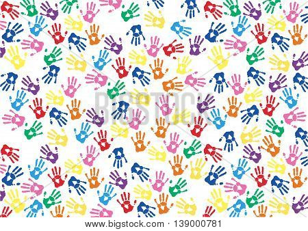 colorful hands prints background , pattern vector