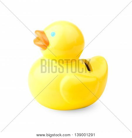 Money saving duck box (piggy bank) isolated on white background