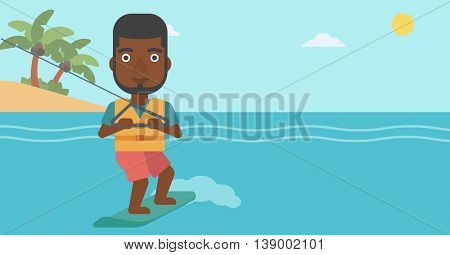 An african-american sportsman wakeboarding on the sea. Wakeboarder making tricks. Man studying wakeboarding. Man riding wakeboard. Vector flat design illustration. Horizontal layout.