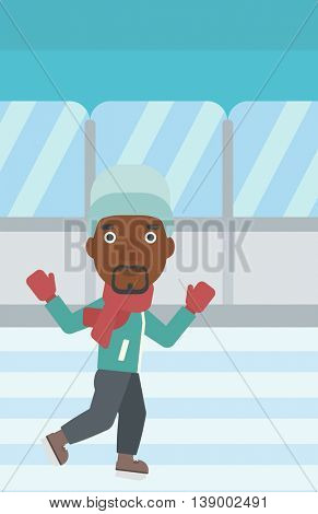 An african-american man ice skating on indoor ice skating rink. Sport and leisure concept. Vector flat design illustration. Vertical layout.