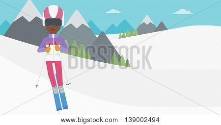 An african-american woman skiing on the background of snow capped mountain. Skier skiing downhill in mountains. Female skier on downhill slope. Vector flat design illustration. Horizontal layout.