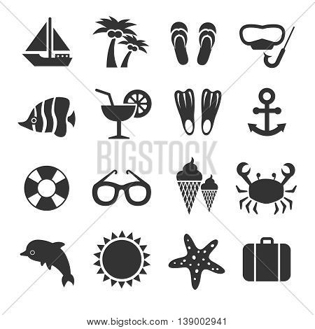 Summer vacation, sea beach relax vector icons. Summer sea travel signs