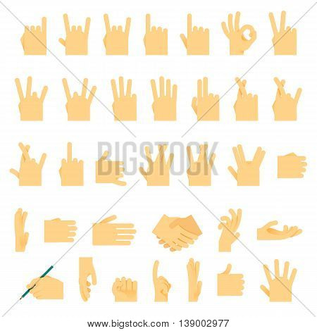 Icons and symbols, hands wrist, gestures signals signs vector illustration.