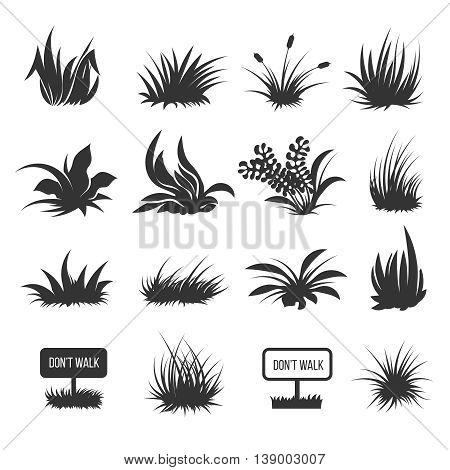 Monochrome grass and lawn vector silhouettes illustration