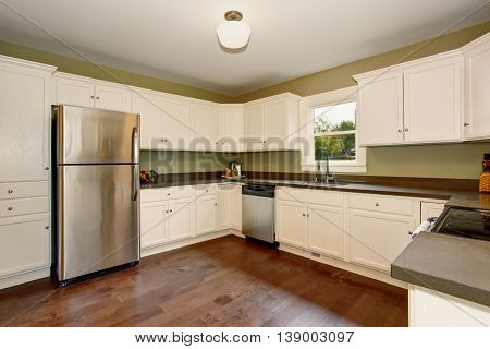 White Empty Simple Old Kitchen Room In American Historical House.