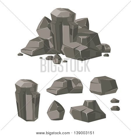 Cartoon rock boulder stone vector. Set of stone and boulder, illustration cartoon stone