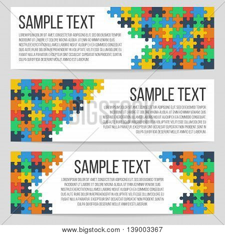 Three horizontal banners template with abstract puzzle background. Isolated, vector, eps 10.