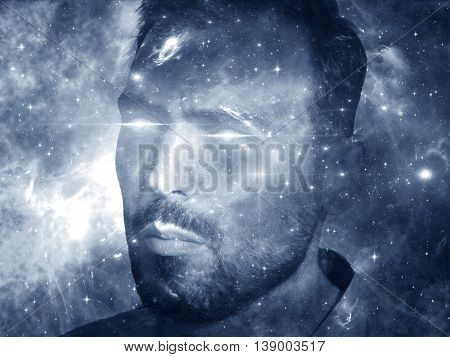 Deep Space series. Artistic background made of nebula stars and colors for use with projects on astronomy science space and religion. Spaceman