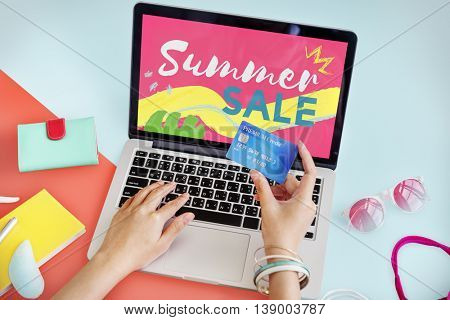 Summer Sale Online Purchase Hands Credit card Concept